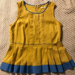 Blue and Gold Zipper Back Top